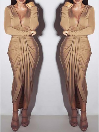 Khaki Deep V-neck Long Sleeve Khaki Ruched Sexy Below Knee Dress