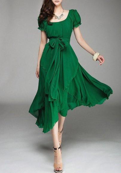 Vestito longuette pianura cintura girocollo manica corta verde