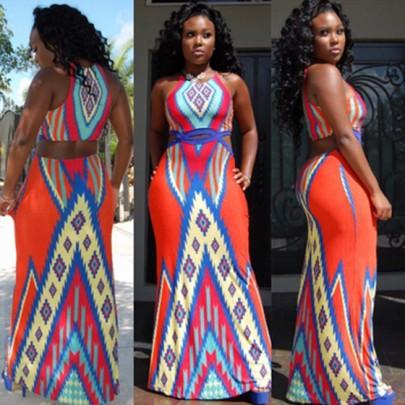 Red Geometric Tribe Print Hollow Waist Round Neck Floor Length Dress