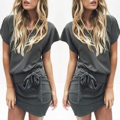 Grey Plain Sashes Irregular Pleated Short Sleeve Mini Dress