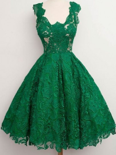Green Lace Pleated Zipper Cut Out Bridesmaid Homecoming Party Adorable Tutu Midi Dress