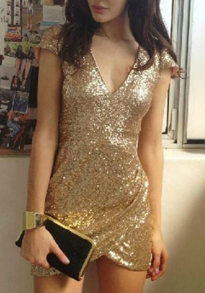 Mini-robe uni paillette irrégulière décorée v-col manches courtes la mode d'or