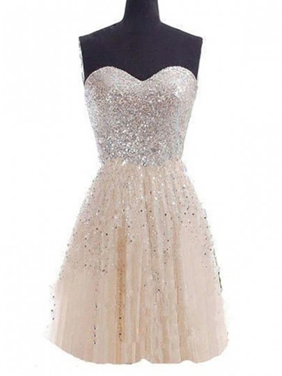 Champagne Sequin Pleated Zipper Bandeau Cute Prom Mini Bridesmaid Bedazzled Dress