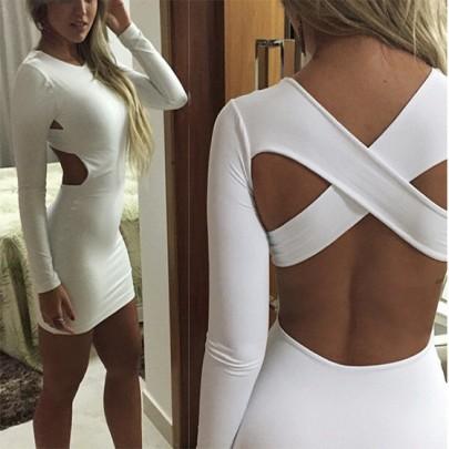 Mini vestido llano cortado cruzar de nuevo de cuello redondo blanco