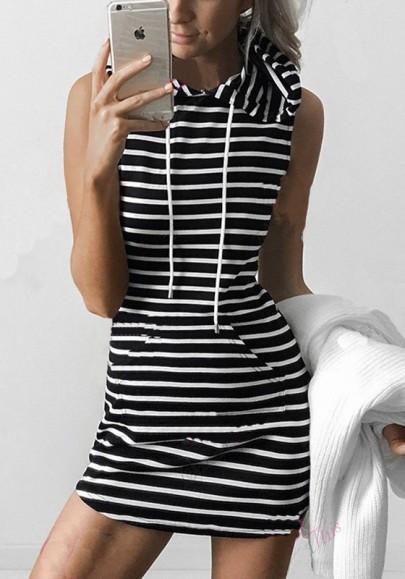 Schwarze Weiße Gestreifte Kordelzug Taschen mit Kapuze Ärmellos Minikleid Lang Hoodie Sweatkleid
