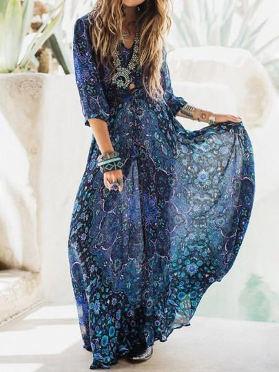 Robe maxi longue boho imprimé à fleurs drapé v-cou mousseline bohème bleu