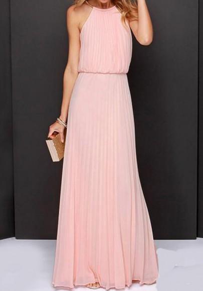 Pink Draped Cut Out Halter Neck High Waisted Sleeveless Elegant Bridesmaid Maxi Dress