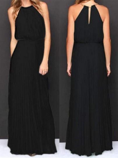 Robe longue en mousseline plissé col ronde sans manches élégant noir