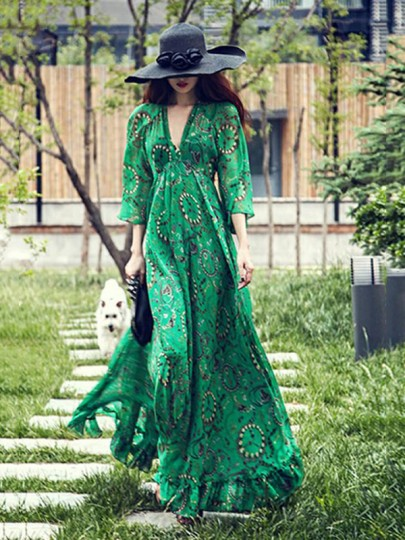 Green Floral Chiffon V-neck 3/4 Sleeve Vintage Caribbean Bohemian Beach Holiday Maxi Dress