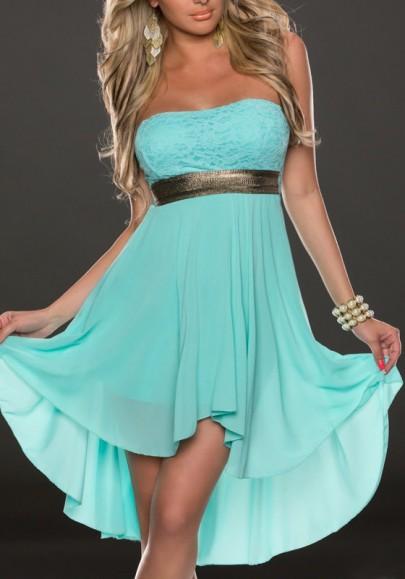 Tiffany Blue Irregular Swallowtail Bandeau Off Shoulder High-low Bridesmaid Party Chiffon Mini Dress
