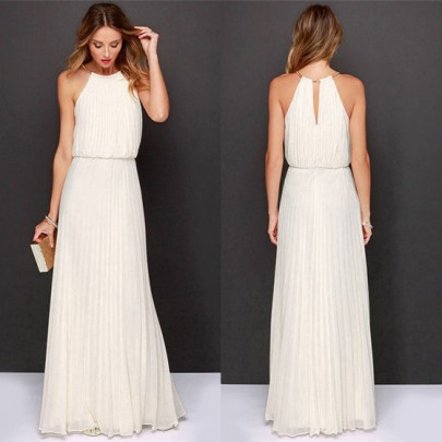 White Draped Cut Out High Waisted Sleeveless Party Elegant Maxi Dress