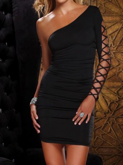 Mini-robe strappy découpes une épaule asymétrique manches longues moulante mode noir