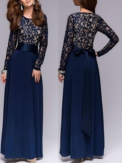 Dark Blue Patchwork Lace Round Neck Party Polyester Maxi Dress
