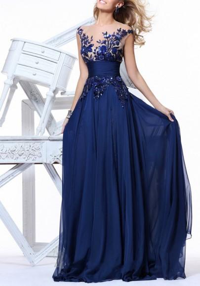 Robe maxi longue avec à fleurs dentelle mousseline sans manches élégant de soirée bleu marine
