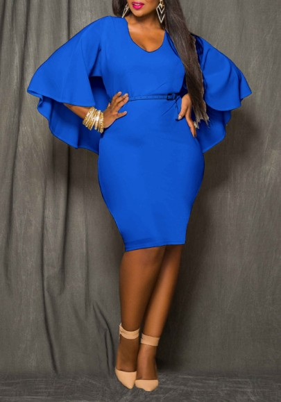 Blue Plain Cloak Cape Dolman Sleeve Plus Size Sexy Club Midi Dress