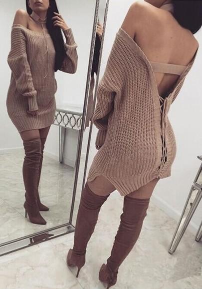 9e833e321e3e Khaki Plain Drawstring Backless Lace-up Sassy Knit Oversized Sweater ...