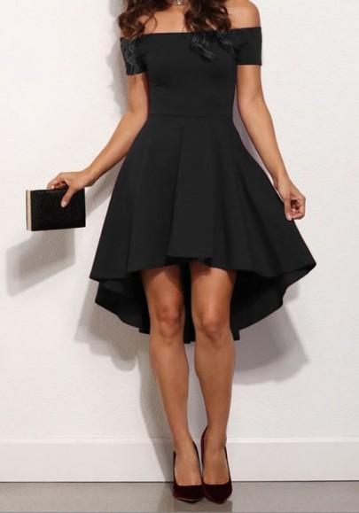 Mi-longue robe court devant longue derriere col bateau élégante de cocktail noir