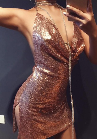 Golden Plain Sparkly Sequin Draped Halter Neck Sexy Backless Club Mini Dress