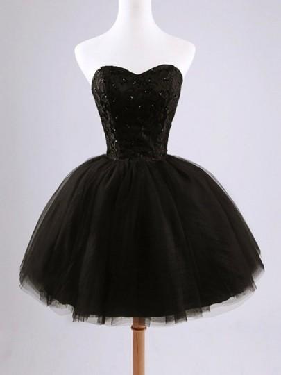 Tulle mini-robe avec dentelle à lacets bustier plissé tutu élégant de fete noir