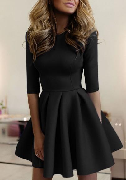 Black Plain Pleated Round Neck Fashion Mini Dress