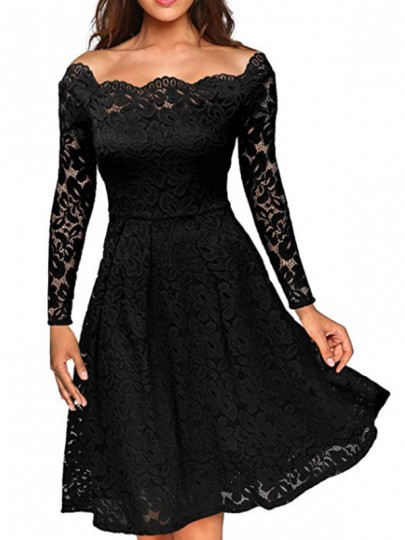 Black Plain Lace Pleated Hollow-out Boat Neck Off-Shoulder Party Midi Dress