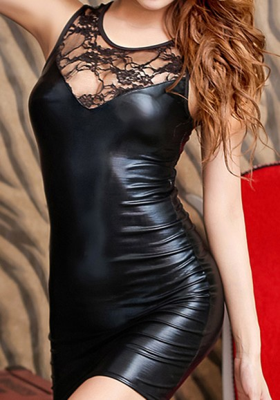 Black Patchwork Lace Hollow-out Round Neck Mini Dress