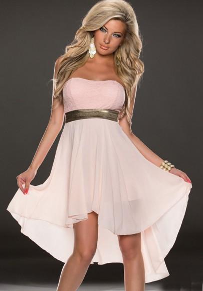 Mi-longue robe avec dentelle mousseline swallowtail haut-bas fluide bustier élégant de cocktail rose pale
