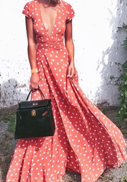 Rotes Tupfen Punkt V-Ausschnitt Kurzarm Bohemian Maxikleid Sommerkleid Strandkleid