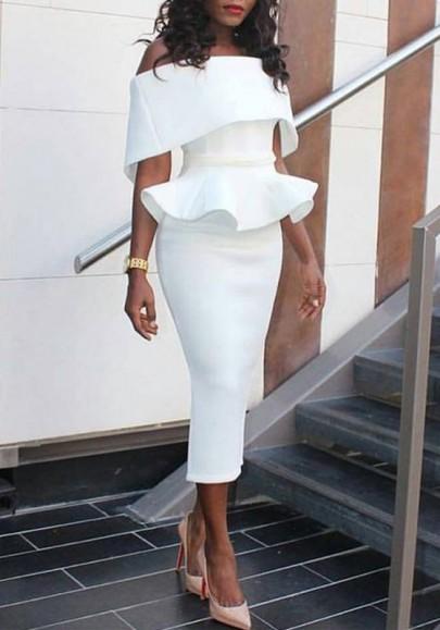 White Ruffle Bandeau Peplum Off Shoulder Elegant Bodycon Church Midi Dress