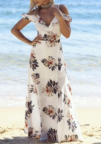 Robe maxi longue imprimé à fleurie bretelle drapé v-cou mode boho de plage blanc