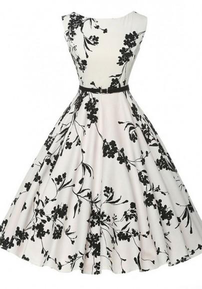 Mi-longue audrey hepburn robe fleuri sans manches rockabilly rétro de cocktail blanc