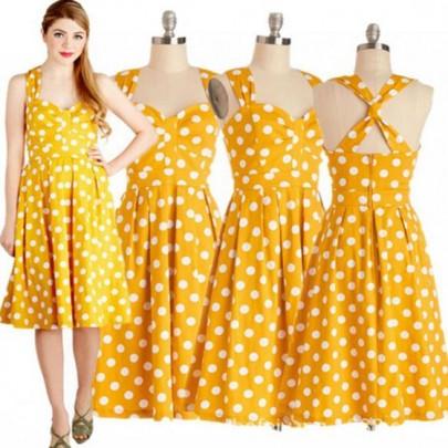 Midi vestido lunares imprimir cruzar de nuevo audrey hepburn estilo vendimia amarillo