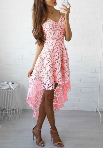 Rosa Ebene Schößchen V-Ausschnitt Mode Polyester Midi Kleid