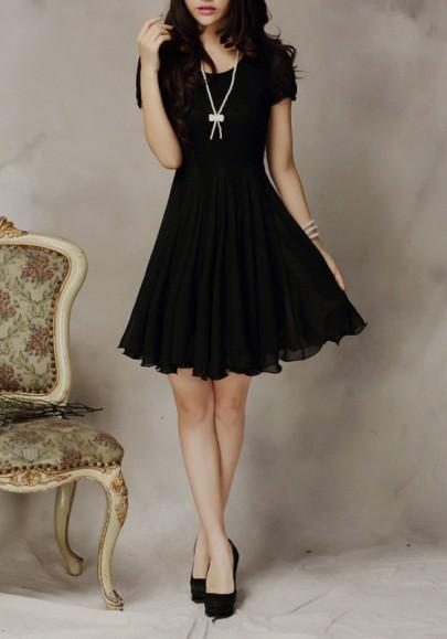 Schwarze Flickwerk Spitze Drapierte Rundhals Mini Kleid