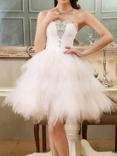 Mi-longue robe bustier avec strass tutu en tulle élégant blanc