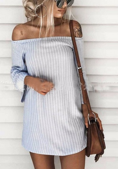 Grey Striped Drawstring Boat Neck Fashion Cotton Mini Dress