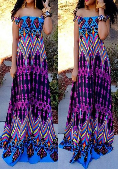 Multicolor Tribal Floral Print Draped Boat Neck Off Shoulder Vintage Maxi Dress