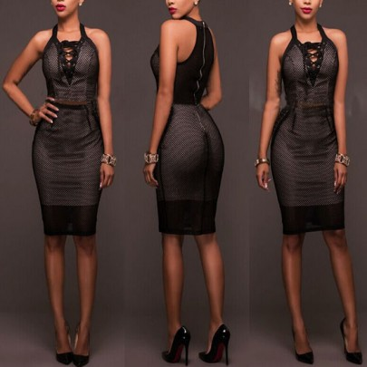 Black Plain Zipper Hollow-out Lace-up Sleeveless V-neck Sexy Bodycon Midi Dress