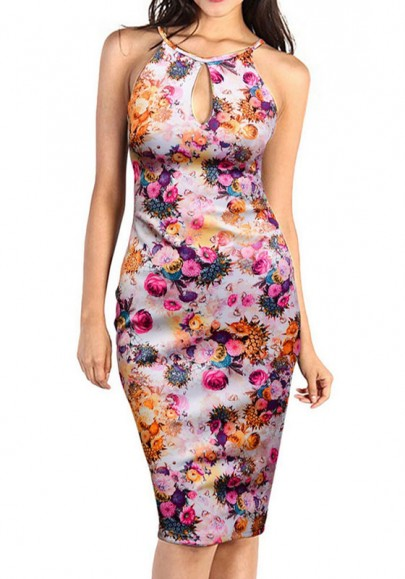 Multicolor Floral Print Cut Out Sleeveless Vintage Sexy Bodycon Midi Dress
