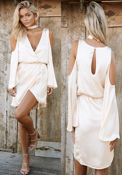 Nude Plain Cut Out Cleavage Sashes Slit Halter Neck Sexy Mini Dress