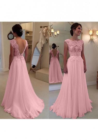 grand assortiment en ligne ici grandes variétés Robe longue avec dentelle mousseline dos nu élégant de ceinture soirée rose