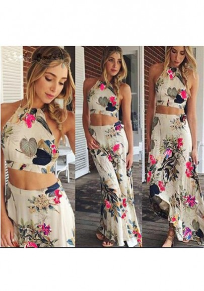 White Flowers Print 2-in-1 Round Neck Sleeveless Maxi Dress