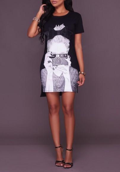 Black Figure Print Irregular High-low Side Slit Vintage T-Shirt Mini Dress