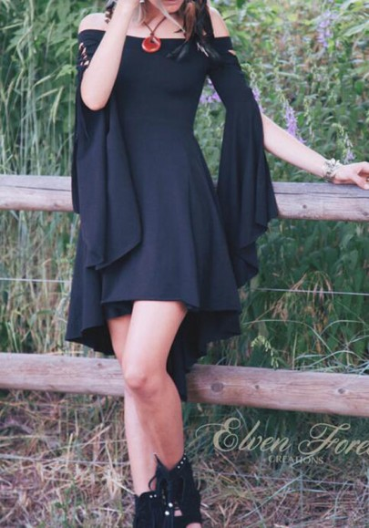 Black Bandeau Irregular Draped Hollow-out Flare Sleeve Off Shoulder Vintage Midi Dress