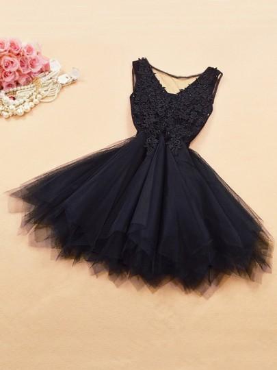 Black Patchwork Lace Grenadine Irregular Bridesmaid Mini Dress
