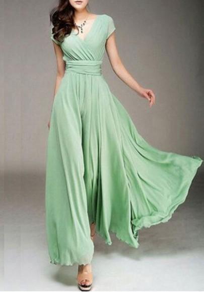Robe maxi longue en mousseline fluide v-cou manches courtes élégant de soirée vert clair