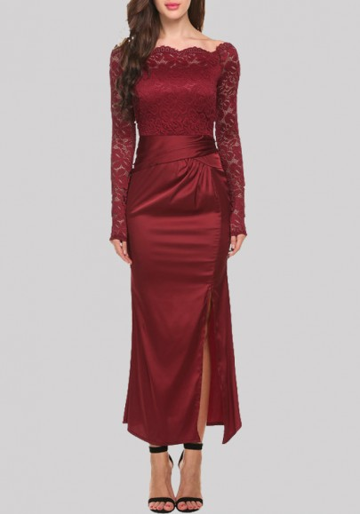 Burgundy Patchwork Lace Hollow-out Zipper Off Shoulder Side Slit Maxi Dress