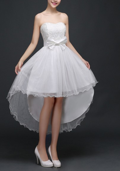 White Patchwork Lace Bow Ruffle Bandeau High-low Midi Dress