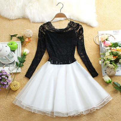 White Patchwork Lace Hollow-out Belt Round Neck Long Sleeve Mini Dress