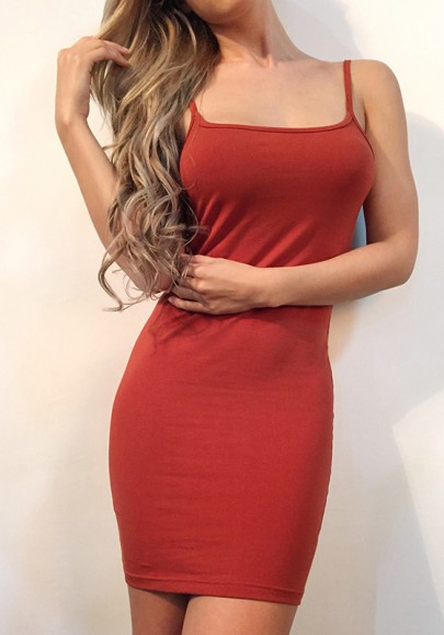 Orange Spaghetti Strap Round Neck Sleeveless Mini Dress